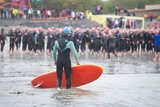 Contestants grapple with the elements at the COPE Galway Traithlon Ocean Race 2011.