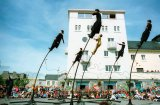 Strange Fruit Theatre Group perform near the Spanish Arch for the Galway Arts Festival.