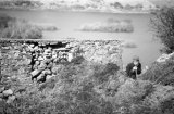 An old man takes a break on the shore of Lough Mask near Kylebrack, Co.Galway.