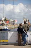 Admiring the view at the Volvo Ocean Race village, Galway.Scenes frm Galway Docks during the Volvo Ocean Race.